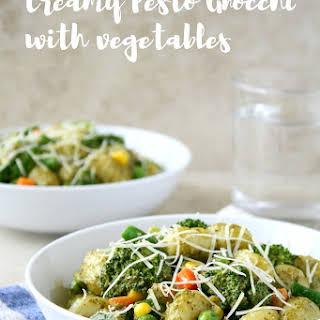 Creamy Pesto Gnocchi with Vegetables.