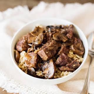 Instant Pot Venison Tips in Mushroom Gravy (Gluten Free).