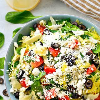 Greek Spaghetti Squash Salad with Lemon Garlic Dressing.