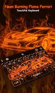 Neon Burning Flame Racing Car Keyboard Theme - náhled