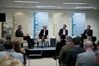 """Photo: Ambassador Charles Ries moderates the """"After the Arab Spring: Turmoil and Change in the Middle East"""" panel with (left to right): Karen Elliott House, Alireza Nader and David Rohde on Friday, Nov. 16, 2012."""
