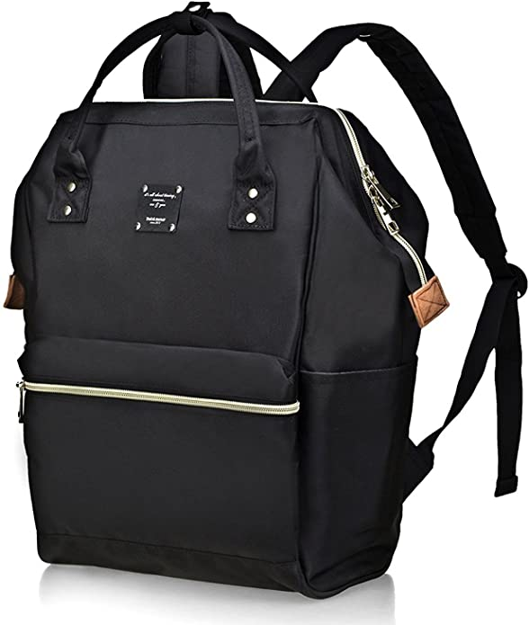 Black trendy backpack with zippers.