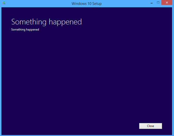 An example of an abstract error message during Windows 10 setup, that simply says 'something happened'.