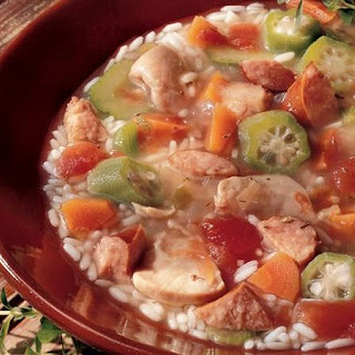 Slow-Cooker Chicken and Rice Gumbo Soup.