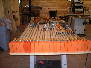Photo: The first thing was to figure out just where and how to get as many clamps as possible to fit on a 4'x 8' sheet of plywood...