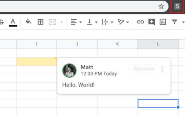 Show Google Spreadsheet comments