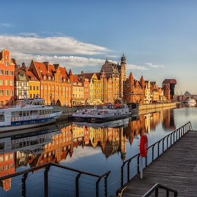 Sunrise Gdansk by David Guest - City,  Street & Park  Historic Districts ( gdansk, sunrise, poland, river, water )