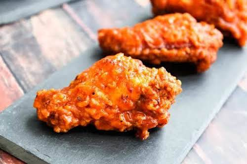 "Bee Sting Chicken Wings ""Oh so garlicky, honey-sweet and spicy! I make..."