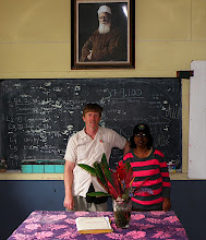 Photo: Nyanam and Bryn inside the the Núr School opened by Bertha Dobbins C.1958