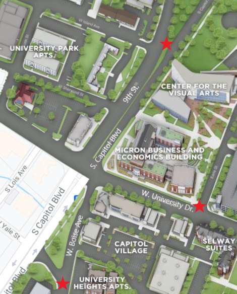 Map - intersection of S capitol blvd and W university dr