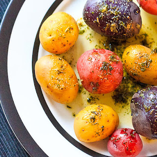Baby Potatoes with Herbed Butter.