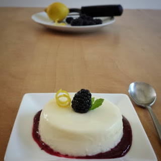 Lemon Panna Cotta with Blackberry Sauce