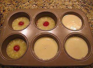 Mini Pineapple Upside Down Cakes Recipe!  Cake Ingredients: 2 eggs 2/3 C white sugar 4 Tbsp pineapple juice 2/3...