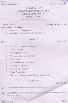 Organizational behavior essay exam questions and answers