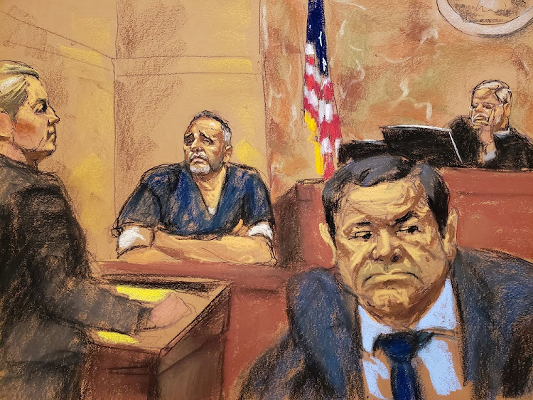 Alex Cifuentes (in witness box), a close associate of the accused Mexican drug lord Joaquin 'El Chapo' Guzman, (right front) testifies in this court sketch in Brooklyn federal court in New York, the US, January 15 2019. Picture: REUTERS/JANE ROSENBERG