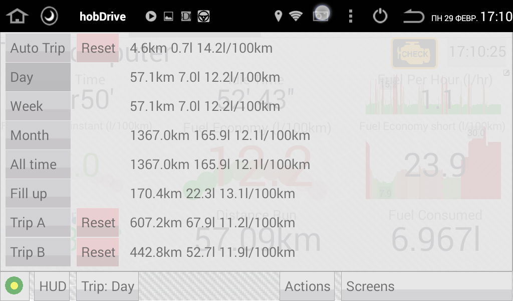 HobDrive Demo OBD2 ELM diag- screenshot