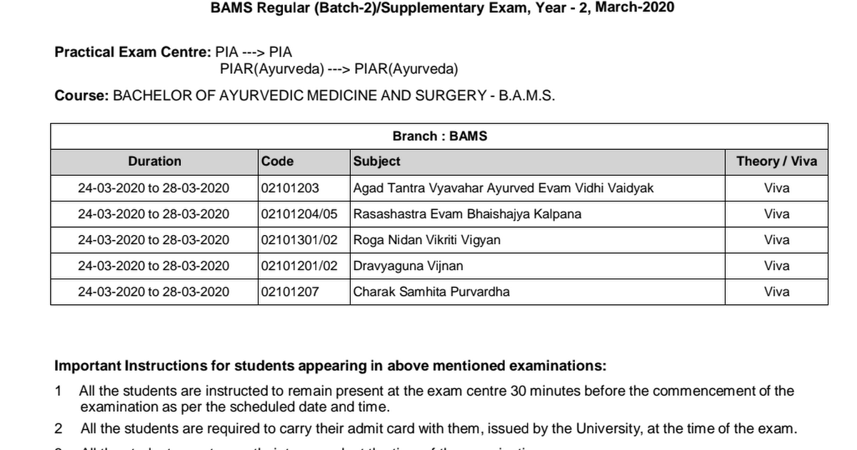 Schedule B Instructions 2020 Practical_Exam_Schedule_BAMS_Reg(b 2) Supp_Exam_Year_2_March 2020