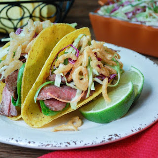 Steak Tacos with Chipotle Slaw.
