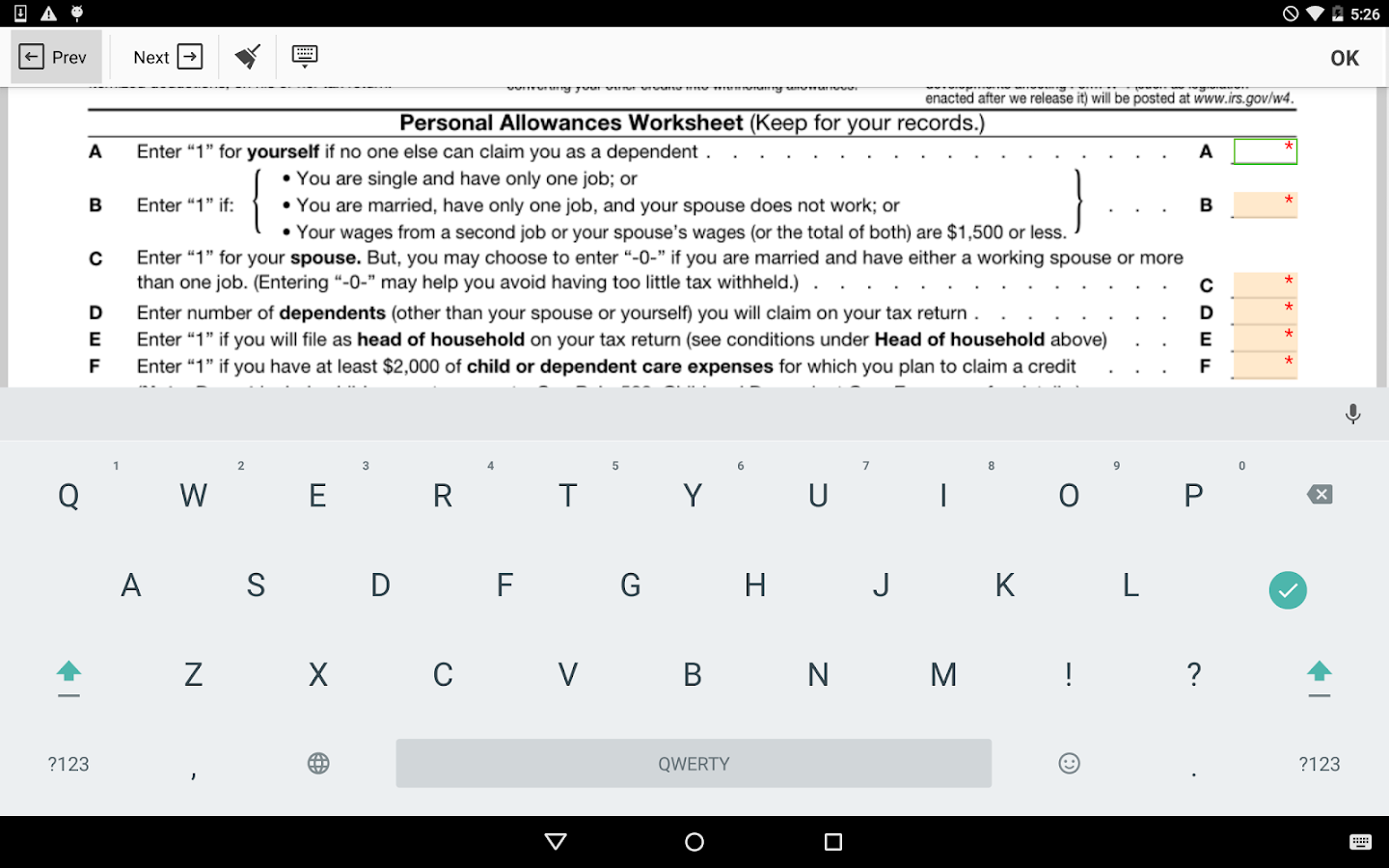 Worksheets Irs Personal Allowances Worksheet irs w 4 form android apps on google play screenshot