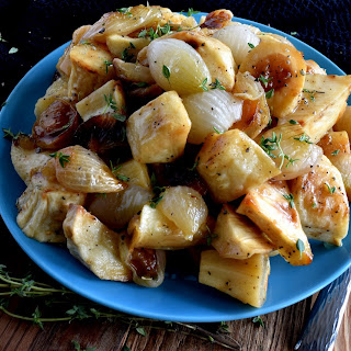 Roasted Parsnips and Pearl Onions with Thyme and Sage.