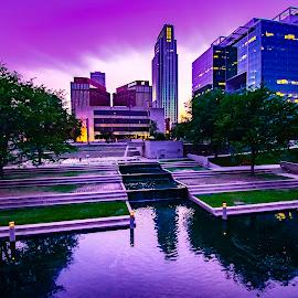 Purple Gene by Duane Vosika - City,  Street & Park  Night ( landscapes, nikon, gene leahy mall, omaha, nature, dusk, night, cityscape, purple, skyscraper, downtown, nebraska )