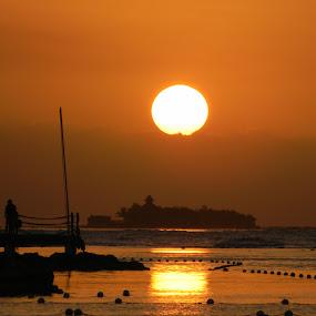 Huge Ball of Fire by Jason Asselin - Landscapes Sunsets & Sunrises ( orange, jamaica, sunset, sea, tropics )