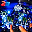 3D Blue Snow Tiger Glass Tech Theme 🐅 icon