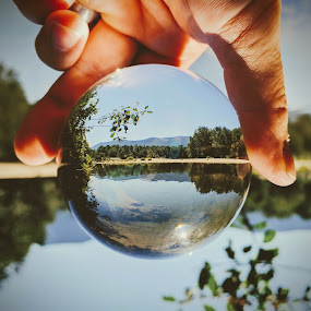 Mountain River Lens Ball by Jeff McVoy - Artistic Objects Other Objects ( sky, mountains, nature, crystal, skyline, lens, scenic, water, lens ball, ball, mountain, stream, sphere, river, landscape )