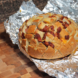 Cheese and Garlic Crack Bread with Bacon.