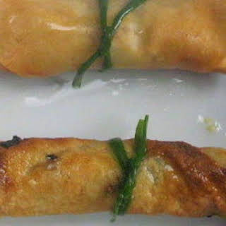 Salmon Maki Spring Rolls with Lemon Soy Wasabi Mayonnaise.
