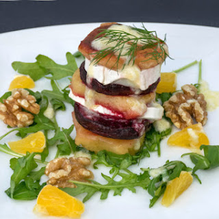 Beetroot & Quince Goat Cheese Salad with Horseradish Dressing [vegetarian]