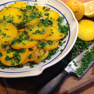 Yellow Beet Salad with Lemon and Parsley.