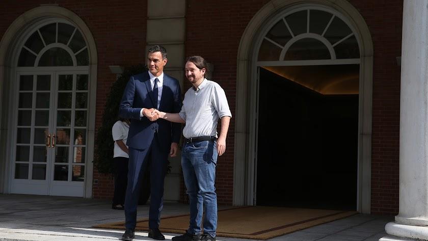 pedro sánchez  y Pablo Iglesias ayer en La Moncloa.