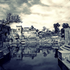 Katas Temples by Akbar Ali Asif - Black & White Buildings & Architecture ( temple, temples, ancient buildings, old buildings, black and white, buildings, artistic, reflections, ruins, architecture, places, world heritage, heritage, historical building )
