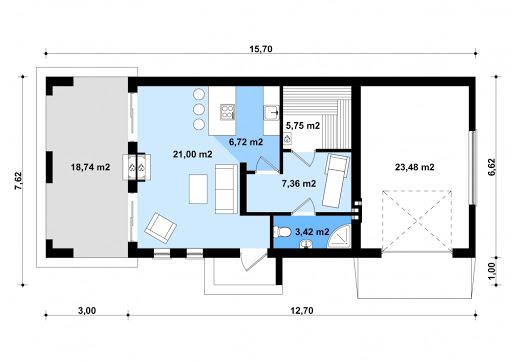 G202 - Budynek rekreacyjny z sauną - Rzut parteru