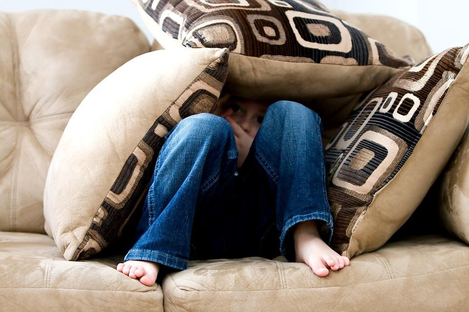 Little Boy, Hiding, Sad, Child, Fear, Pillows, Couch