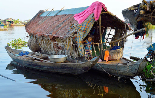 vietnam-houseboat-on-mekong.jpg - A typical family dwelling on the Mekong in a floating village.