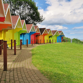 Beach Huts  by Eloise Rawling - Novices Only Landscapes ( scarborough, north yorkshire, beach huts,  )