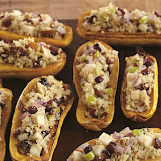 Quinoa Stuffed Squash with Pears and Cranberries