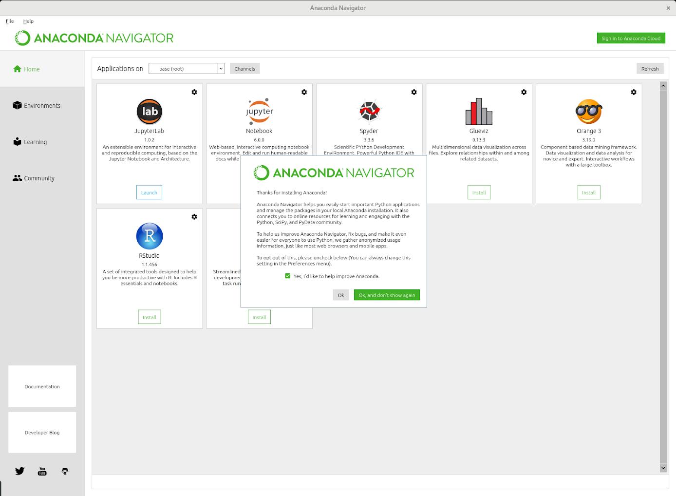Interfaz de Anaconda Navigatorcorriendo