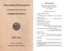 Photo: Villanova Commencement program, 1959.
