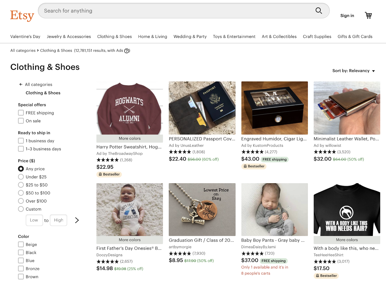 Etsy for selling clothes online