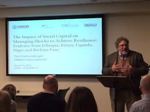 """Photo: Submitted by CORE Group  TANGO President Tim Frankenberger presented at """"The Impact of Social Capital on Managing Shocks to Achieve Resilience"""" on January 5, 2016"""