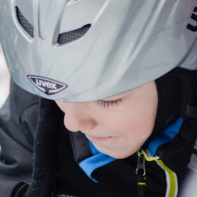 THOUGHTS by Alexandru Bogdan Grigore - Babies & Children Child Portraits ( child, winter, cold, thought, helmet, boy )