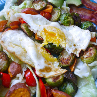 Brussels Sprout Breakfast Hash with Sweet Potato and Cabbage (Paleo, GF) Recipe