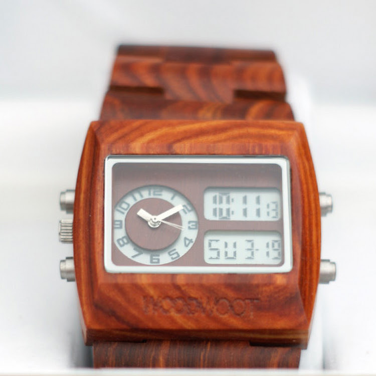Dual-Time Wooden Watch by -