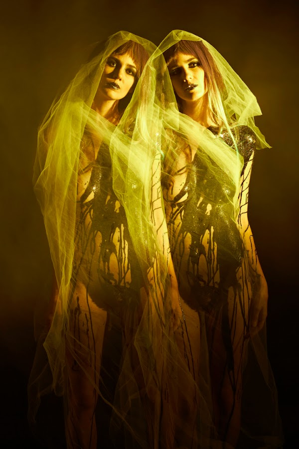 Apparitions by Sabina Miklowitz - People Fashion ( scary, fashion, color, makeup, multiple exposure, woman, strobes, latex, ghost, tulle, beauty, hair )