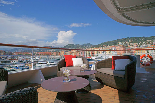 Take in panoramic views of charming European port cities from the deck of Le Boreal, a Ponant yacht.
