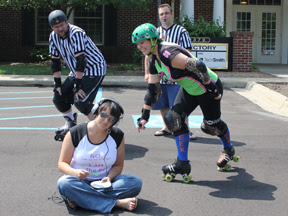 Photo: Jess, Carmen, Ray, Rachael - Roller Derby Freaks - Got into derby because they get to hit people… and do trajectory math!