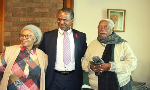 Former MEC Dhlomo with former premier Dr Frank Mdlalose and his wife Eunice.